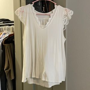 White lace detailed cotton shirt